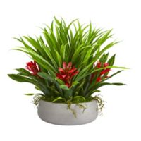 Nearly Natural 16-Inch Red Bromeliad & Grass Artificial Arrangement in White Ceramic Vase