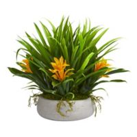 Nearly Natural 16-Inch Bromeliad and Grass Artificial Arrangement in White Ceramic Vase