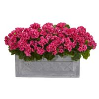 Nearly Natural 18-Inch Artificial Geranium Plant in Stone Planter