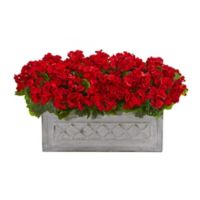 Nearly Natural 18-Inch UV-Resistant Red Geranium Arrangement in Stone Planter