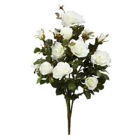 Nearly Natural 28-Inch Garden Rose Artificial Plant in White (Set of 2)