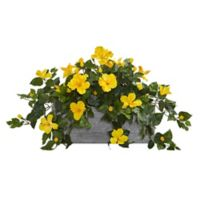 Nearly Natural Artificial Hibiscus Arrangement in Wooden Planter