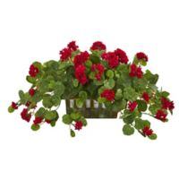 Nearly Natural 15-Inch Artificial Geranium Plant in Planter