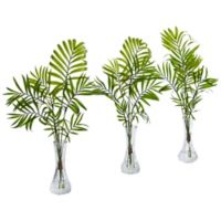 Nearly Natural 19-Inch Mini Palm in Cut Glass Vase (Set of 3)