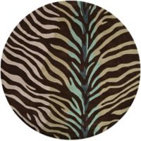 Surya Cosmopolitan Animal 8' Round Area Rug in Brown/Teal