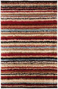 Surya Concepts Shag Stripe 1'11 x 3'3 Accent Rug in Red/Khaki