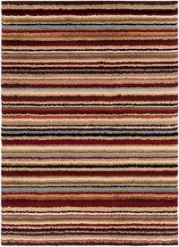 Surya Concepts Shag Stripe 7'10 x 10'10 Area Rug in Red/Khaki