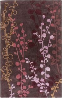 Surya Cosmo Ultra Floral 5' x 8' Hand Tufted Area Rug in Red/Purple