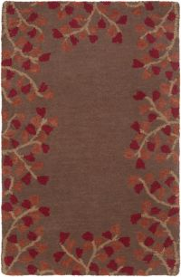 Surya Athena Petal Border 2' x 3' Accent Rug in Red/Brown