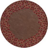 Surya Athena Petal Border 4' Round Rug in Red/Brown