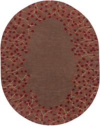 Surya Athena Petal Border 8' x 10' Oval Area Rug in Red/Brown