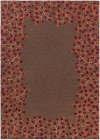 Surya Athena Petal Border 8' x 11' Area Rug in Red/Brown