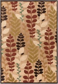 Surya Portera Floral 7'10 x 10'8 Indoor/Outdoor Area Rug in Brown/Green