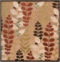 Surya Portera Floral 7'6 Indoor/Outdoor Square Area Rug in Brown/Green