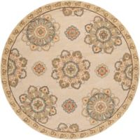 Surya Rain Medallion 8' Round Hand-Hooked Indoor/Outdoor Area Rug in Brown