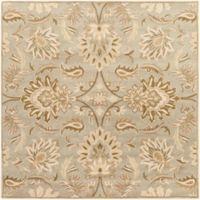 Surya Caesar Vintage Floral 4' Square Accent Rug in Grey/Green
