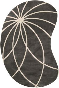 Surya Forum Modern Kidney-Shaped 6' x 9' Area Rug in Charcoal