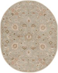 Surya Caesar Vintage Ivy 8' x 10' Oval Area Rug in Grey/Wheat