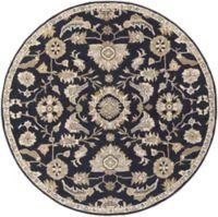 Surya Caesar Classic 8' Round Area Rug in Black/Beige