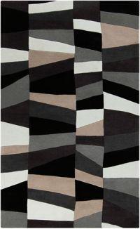 Surya Cosmopolitan Geometric 3'6 x 5'6 Area Rug in Grey/Black