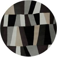 Surya Cosmopolitan Geometric 8' Round Area Rug in Grey/Black