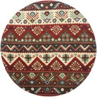 Surya Dream Southwest 8' Round Handcrafted Area Rug in Red/Brown