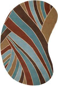 Surya Forum Modern Kidney 6' x 9' Handcrafted Area Rug in Brown/Blue