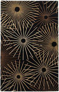 Surya Forum Starburst 4' x 6' Area Rug in Black/Brown