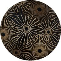 Surya Forum Starburst 4' Round Accent Rug in Black/Brown