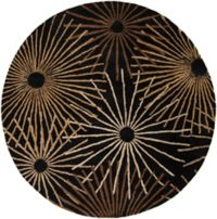 Surya Forum Starburst 6' Round Area Rug in Black/Brown