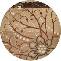 Surya Athena Floral Abstract 4' Round Rug in Brown/Neutral