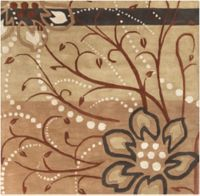 Surya Athena Floral Abstract 4' Square Rug in Brown/Neutral