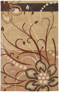 Surya Athena Floral Abstract 6' x 9' Area Rug in Brown/Neutral
