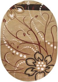 Surya Athena Floral 6' x 9' Oval Rug in Brown/Neutral