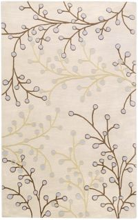 Surya Athena Floral 4' x 6' Handcrafted Area Rug in Taupe/Brown