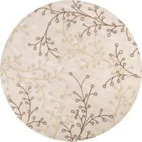 Surya Athena Floral 4' Round Handcrafted Area Rug in Taupe/Brown