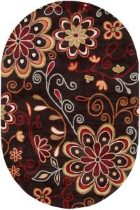 Surya Athena Floral Oval Rug in Rust/Brown