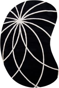 Surya Forum Modern Kidney-Shaped 6' x 9' Area Rug in Black/Neutral