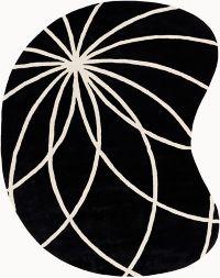 Surya Forum Modern Kidney-Shaped 8' x 10' Area Rug in Black/Neutral