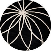 Surya Forum Modern 8' Round Area Rug in Black/Neutral