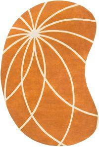 Surya Forum Modern Kidney-Shaped 6' x 9' Area Rug in Orange/Neutral