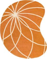 Surya Forum Modern Kidney-Shaped 8' x 10' Area Rug in Orange/Neutral
