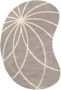 Surya Forum Modern Kidney-Shaped 6' x 9' Area Rug in Grey/Cream