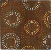 Surya Forum Bloom 4' Square Accent Rug in Brown/Red