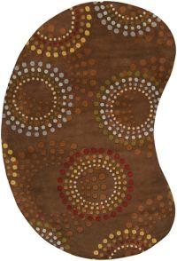Surya Forum Starburst Kidney 6' x 9' Area Rug in Brown/Red