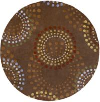 Surya Forum Bloom 6' Round Area Rug in Brown/Red