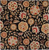Surya Athena Floral Botanical 4' Square Hand Tufted Area Rug in Black/Red