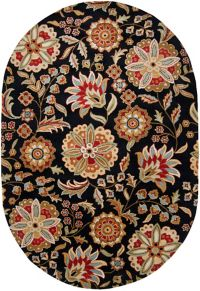 Surya Athena Floral 6' x 9' Hand Tufted Oval Area Rug in Black/Red