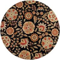 Surya Athena Floral Botanical 8' Round Hand Tufted Area Rug in Black/Red