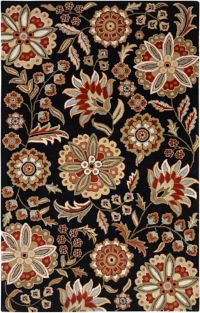 Surya Athena Floral Botanical 9' x 12' Hand Tufted Area Rug in Black/Red